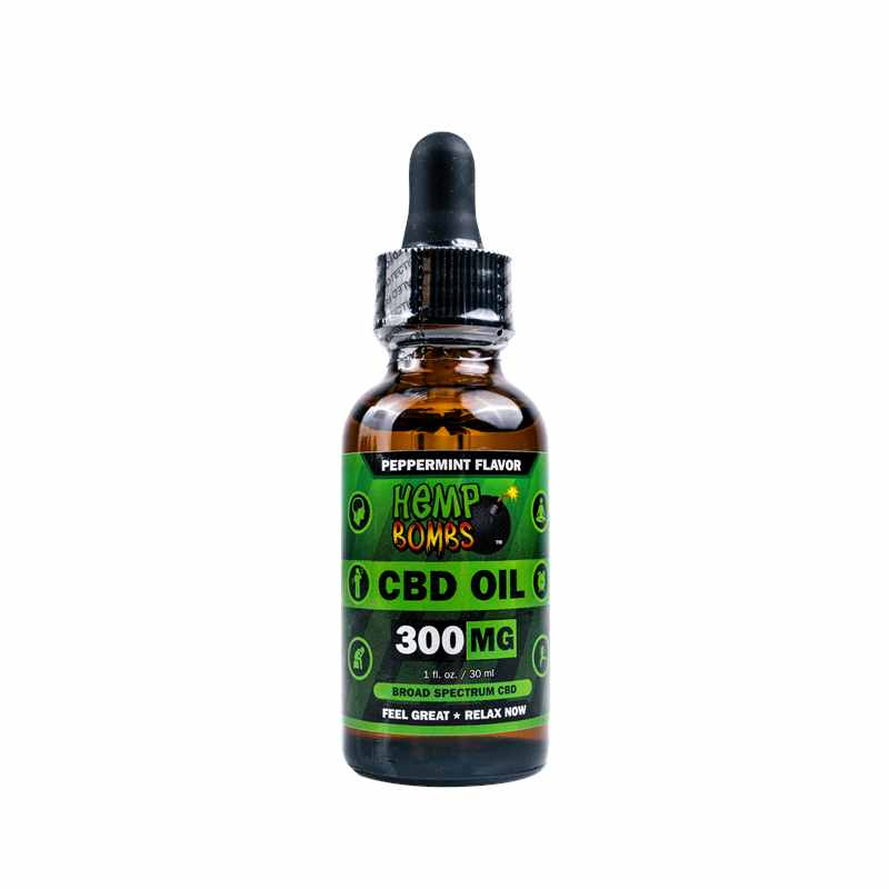 Hemp Bombs 300mg CBD Oil Bottle