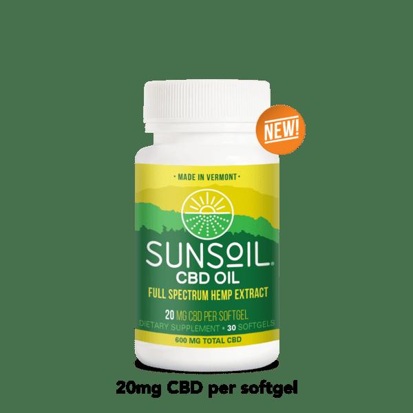 Sunsoil CBD Oil Softgels 30 Count Bottles