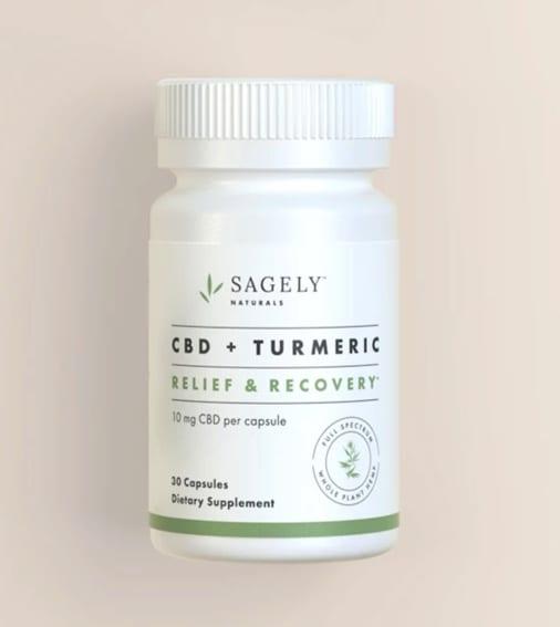 Sagely CBD + Tumeric, Relief & Recovery Capsules