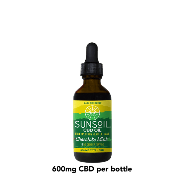 Sunsoil CBD Oil Drops, Chocolate Mint Flavor Bottle